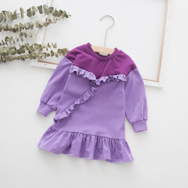 Robe à manches longues pour petites filles   En dentelle, tenue dautomne 2019, motif épissures, couleur contrastée, pour anniversaire, de 1 an