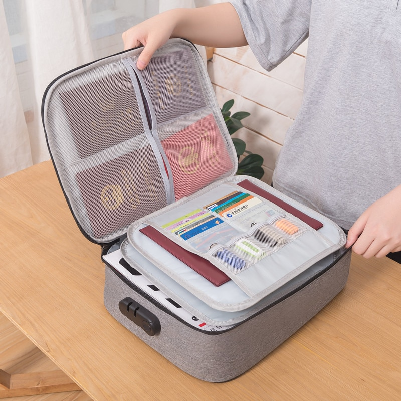 Document Organizer Briefcase A4 Folder Holder Men's Women's Bag Cover Purse Passport Home Safe Functional File Storage Case