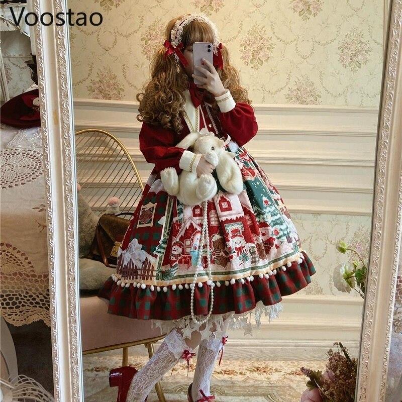 الخريف الشتاء النساء الحلو لوليتا Op فستان السنة الجديدة عيد الميلاد الكرتون طباعة فستان الفتيات Kawaii القوس حفلة فساتين الأميرة الحمراء