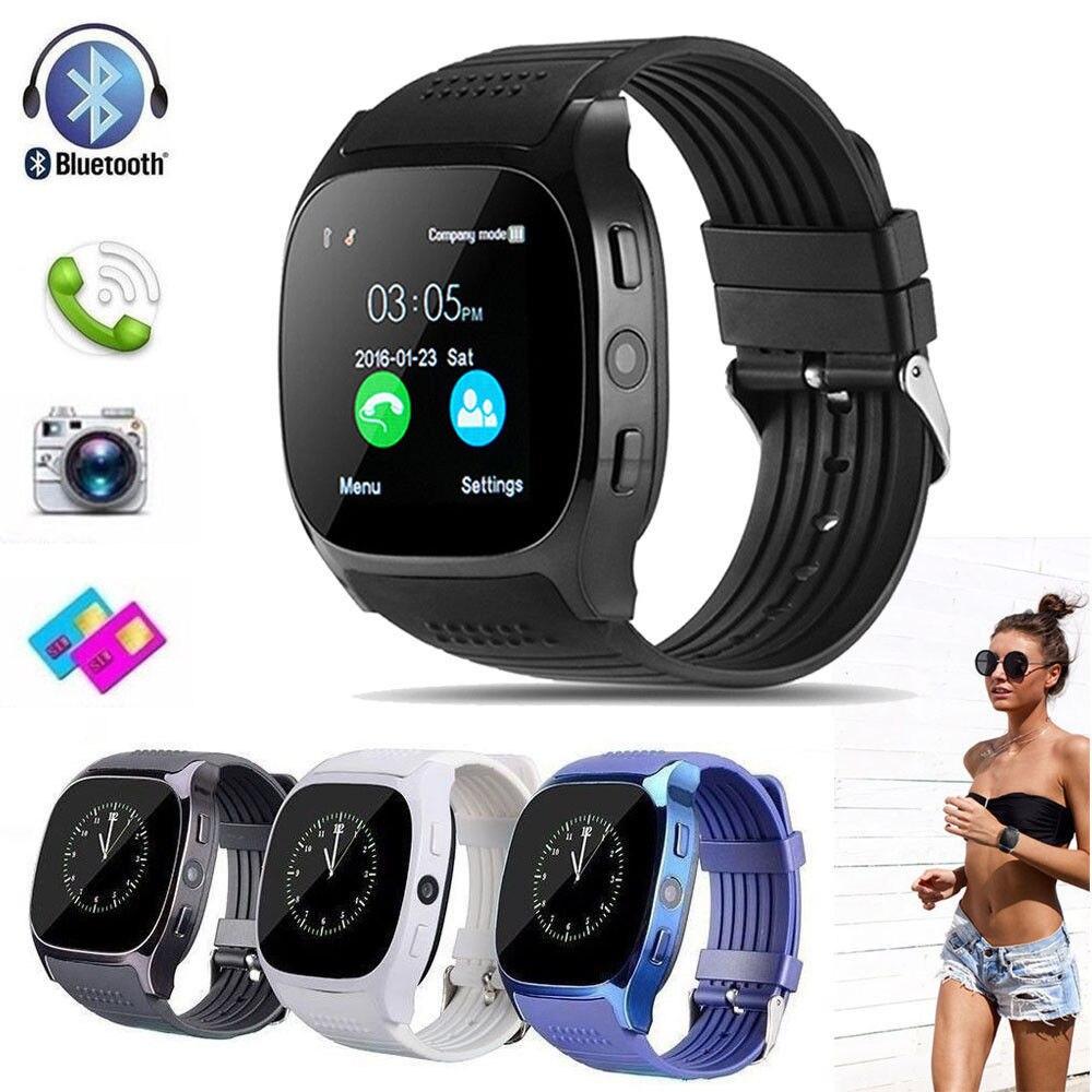 ¡Oferta! Reloj inteligente Bluetooth Smartwatch T8 Android llamada de teléfono Relogio GSM SIM TF cámara de tarjeta para iPhone Samsung HUAWEI PK DZ09