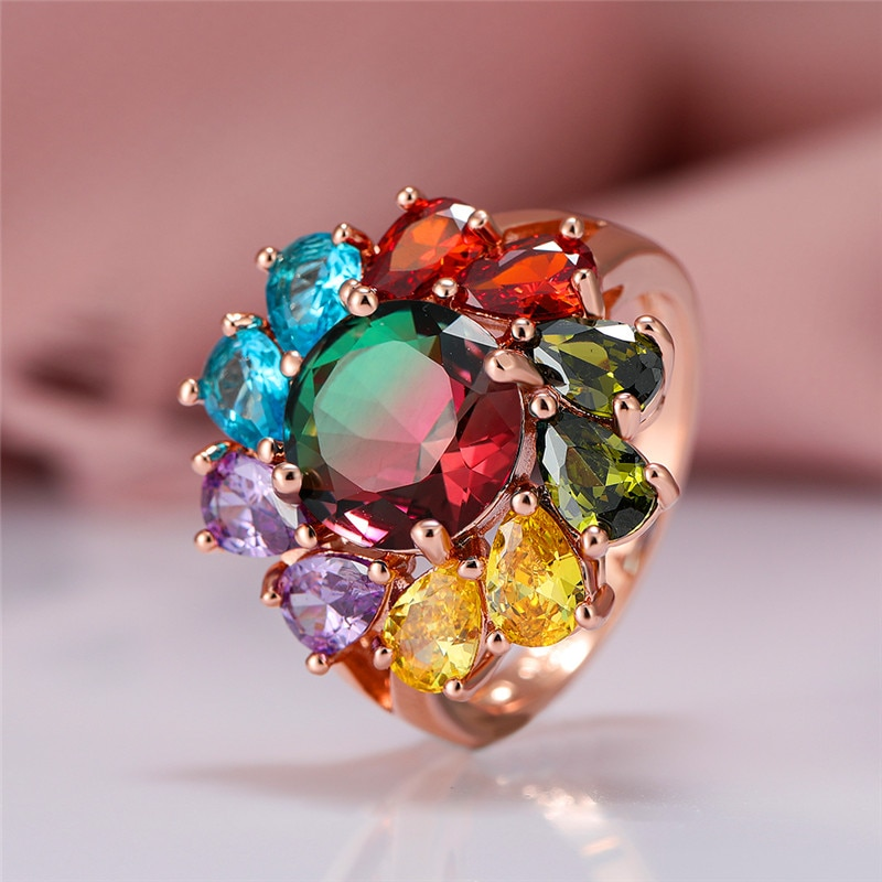 Anillo de cristal de arco iris redondo de lujo para mujer, anillo de boda Vintage de Color oro rosa para mujer, anillo de compromiso de flores de novia delicado