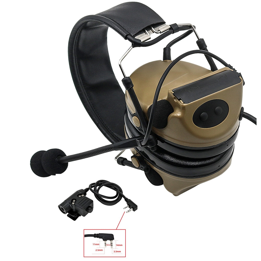 COMTAC II Pickup and Noise Reduction Tactical Headset Electronic Shooting Headphones Noise Reduction Earmuffs + Tactical U94 PTT