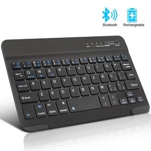 Беспроводная мини-клавиатура, Bluetooth-клавиатура для ipad, телефона, планшета, русская испанская перезаряжаемая клавиатура для Android, ios, Windows
