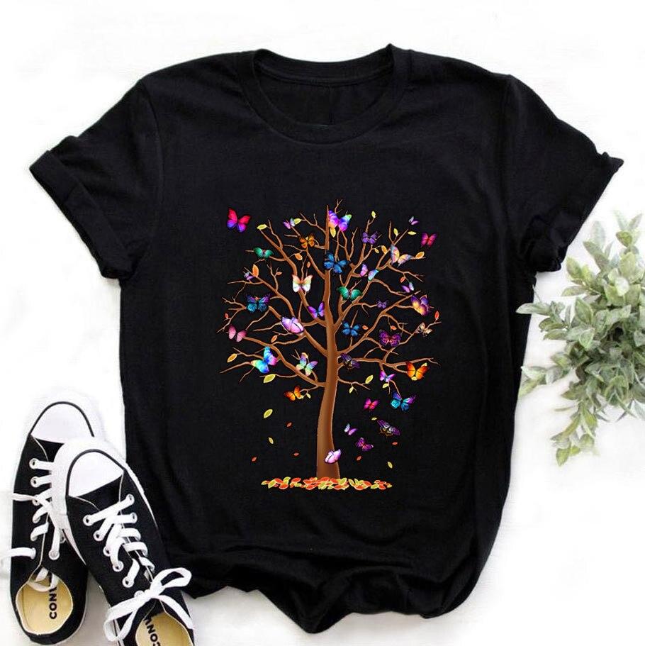 Harajuku-ropa con estampado de árbol con mariposas párr mujer de camiseta informal...