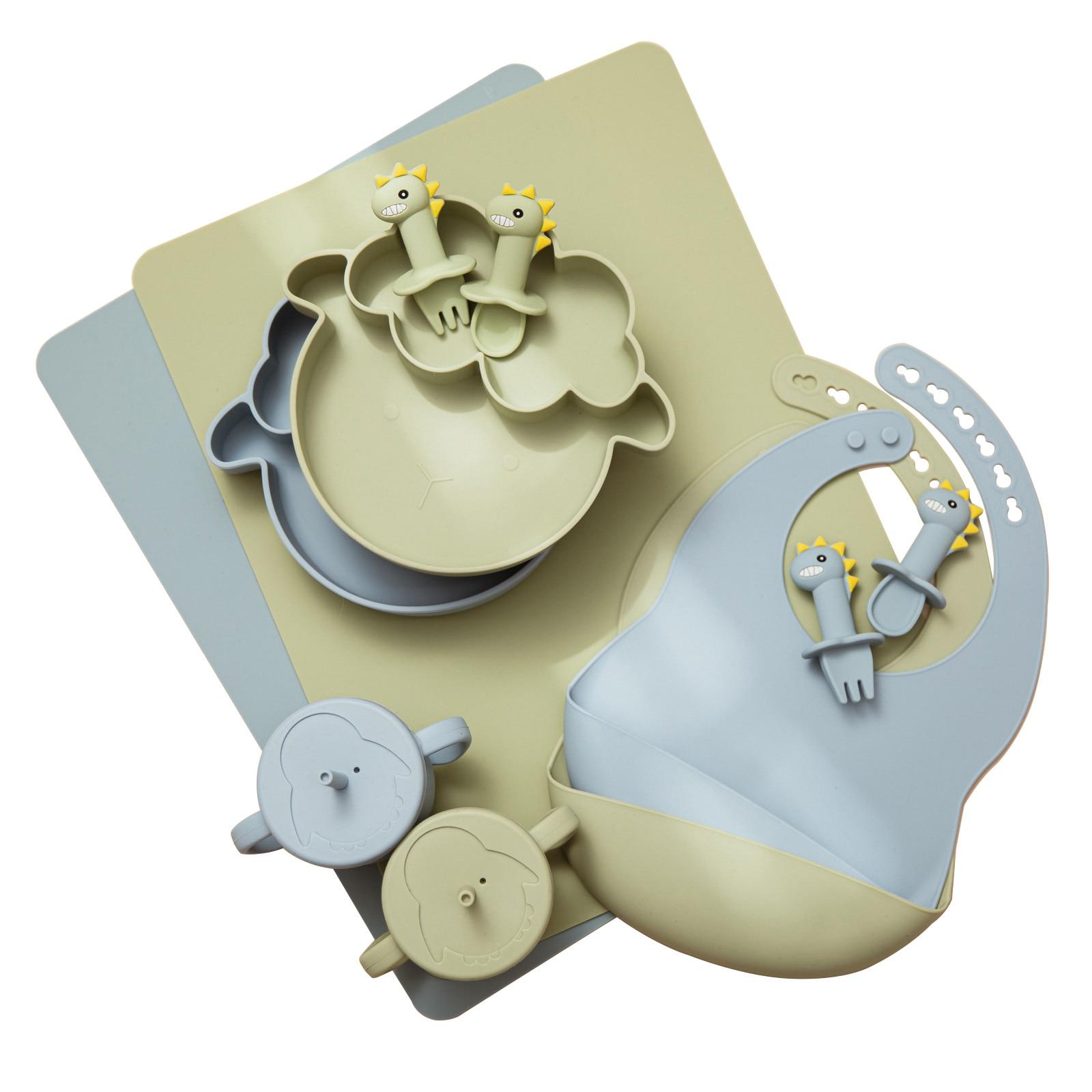 Baby Feeding Tableware 6PCS Food Grade Silicone Plate Bib Placemat Dinosaur Spoon Feeding Cup Set BPA Free Newborn Supplies