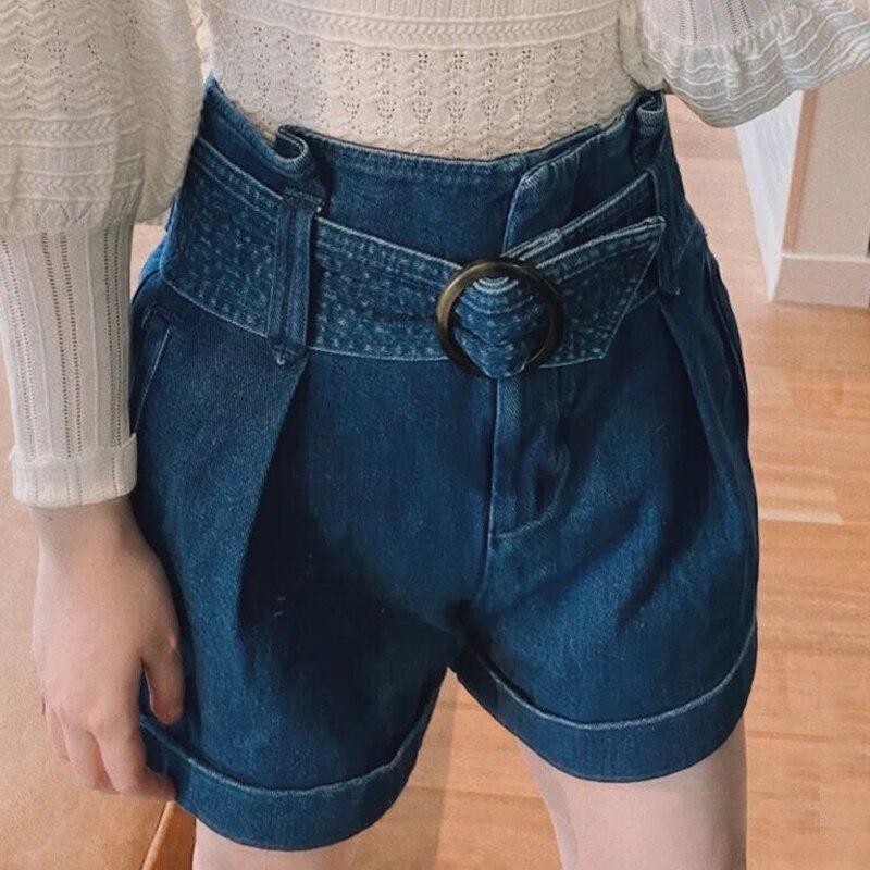 Women Denim Short Rome Summer High Waist Pockets Loose Casual Shorts Elegant