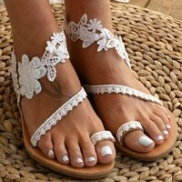summer womens sandals 2021 female slip on flat shoes sexy white lace roman sandals sandalias mujer sapato feminino plus size
