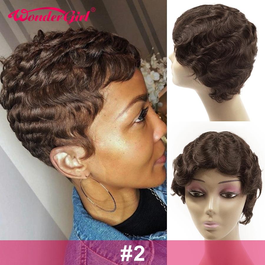 Perucas de cabelo humano para as mulheres negras remy pixie brasileiro peruca de corte onda do oceano perucas de cabelo curto bob onda natural do dedo