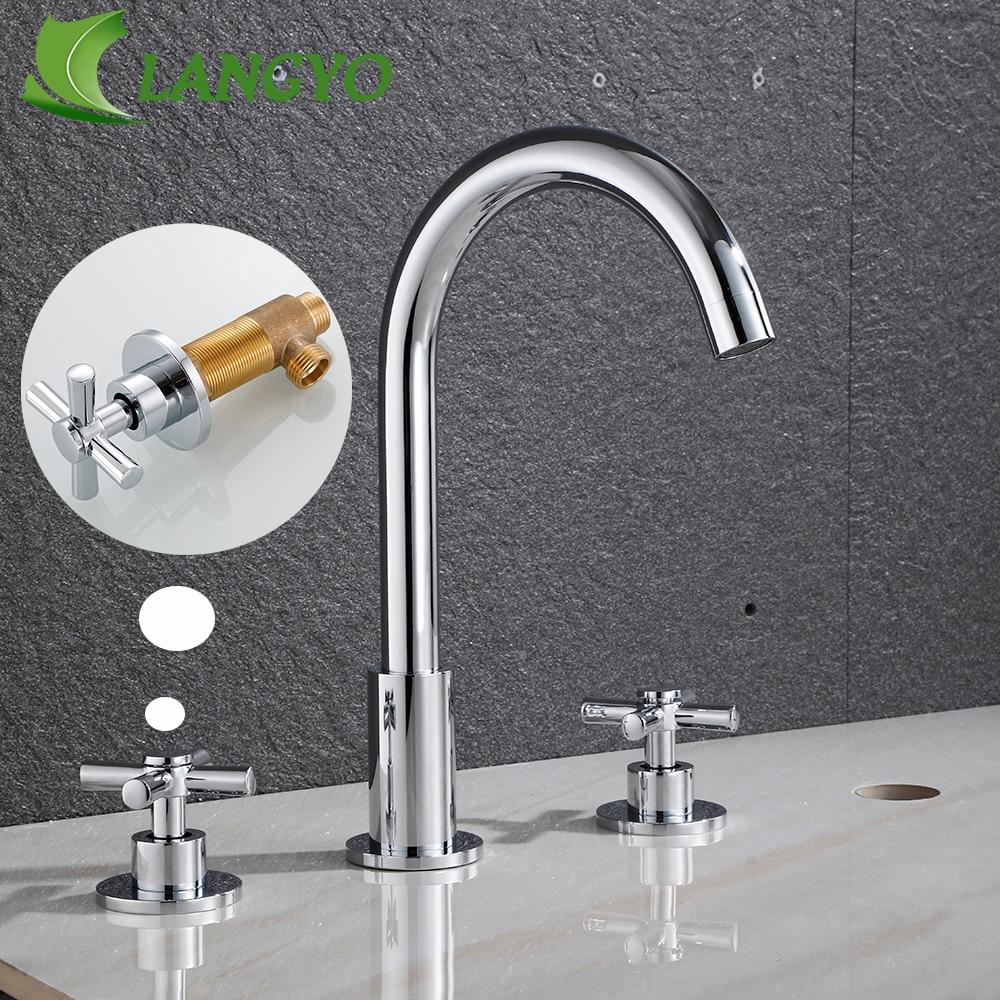 LANGYO 3 قطعة الذهب/الكروم صنبور حوض استحمام الحمام المياه خلاطات الحمام الحنفية مغسلة الإبداعية صنبور مع مقبض مزدوج