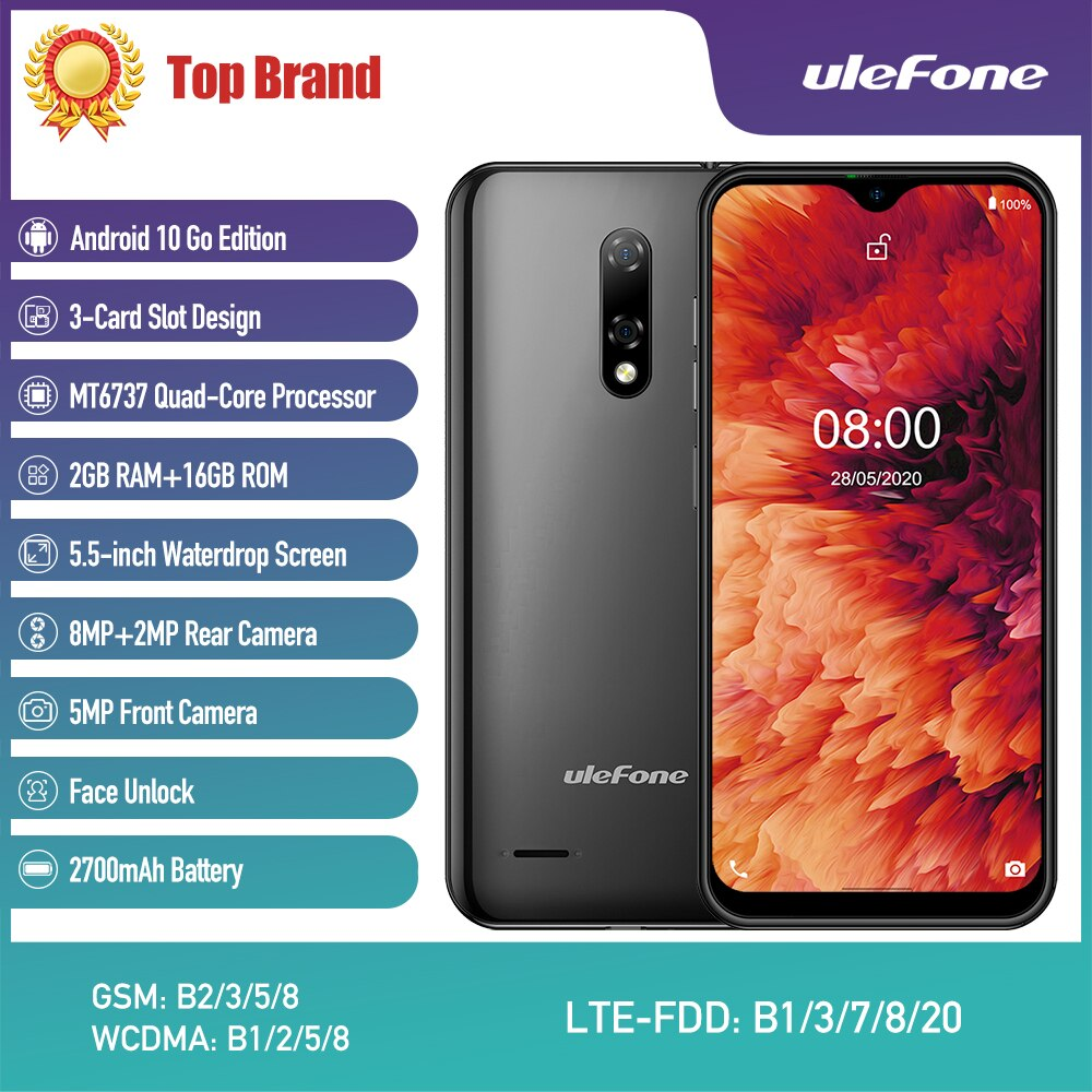 Ulefone Note 8P Android смартфон 10 4G LTE сотовый MT6737VW Waterdrop экран четырехъядерный 2 Гб 16 Гб 5,5 дюймов 8 Мп 2700 мАч