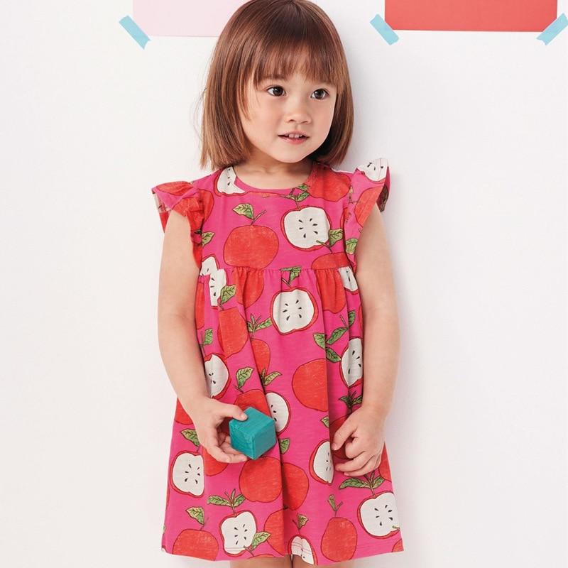 Little maven 2-7Years Summer FlamingO Cotton Princess Pocket Dress For Girl Fancy Child Kids Toddler Baby Girl Belle Dress
