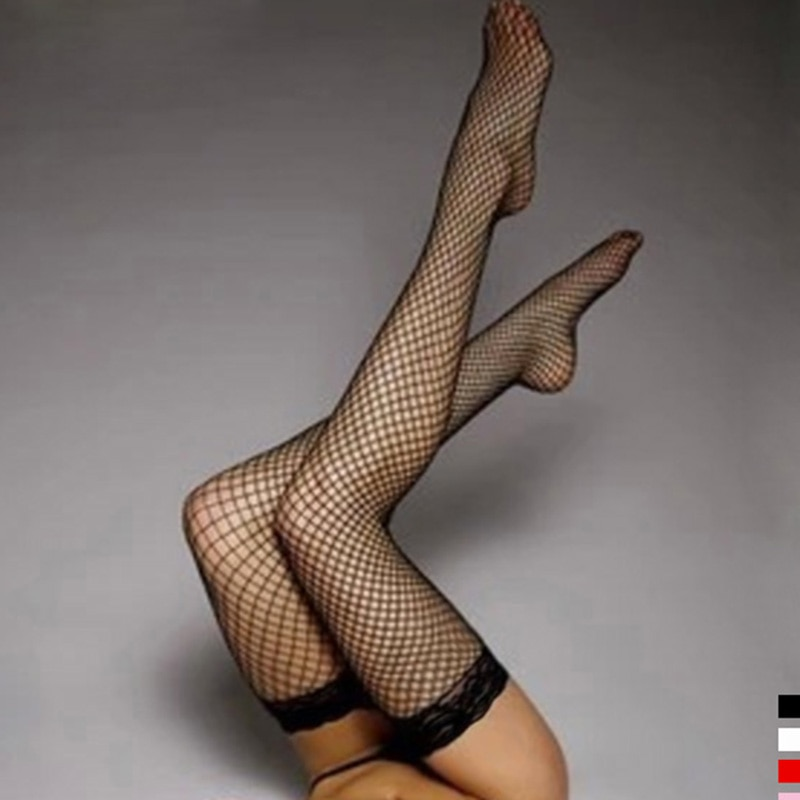 1 Pair Sexy lingerie Mesh Stockings Lace Top Sheer Stay Up Knee Thigh Highs net Stockings Fishnet Pantyhose meias hosiery socks
