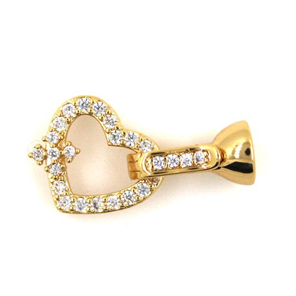 Diy acessórios de moda 14k ouro micro incrustado com diamante oco-para fora amor fecho jade pérola colar pulseira fivela
