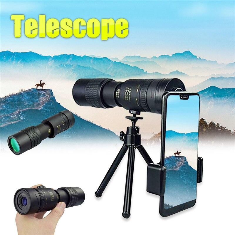 4K 10-300X40mm Super Telephoto Zoom Monocular Telescope with BAK4 Prism Lens Phone Camera for Beach Travel Outdoor Activities