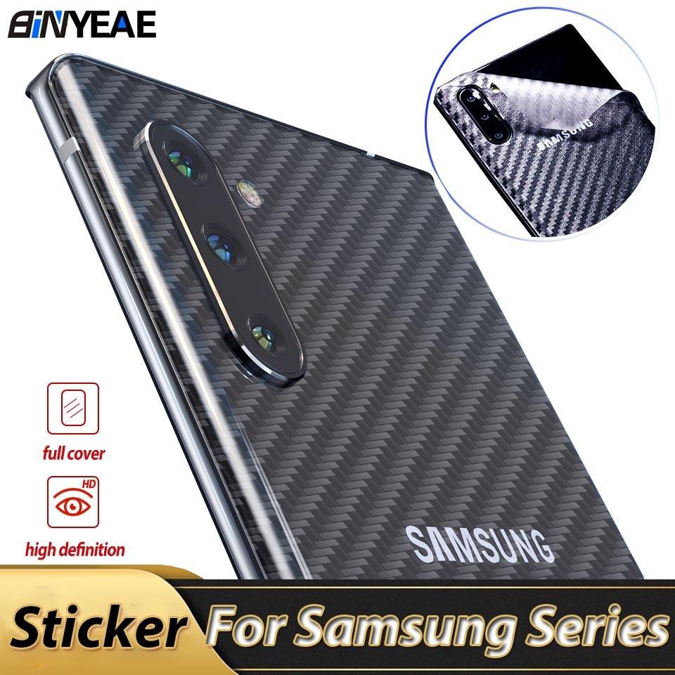 Funda trasera de fibra de carbono para Samsung Galaxy Note 10 S10 Lite S20 Ultra Plus, funda protectora, pegatina