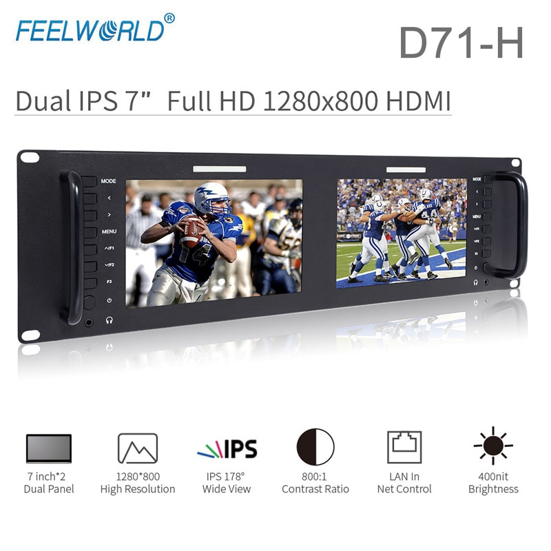 Feelworld D71-H المزدوج 7 بوصة رصد 3RU IPS 1280x800 HDMI LCD الرف جبل مراقب المحمولة 2 شاشات رصد البث