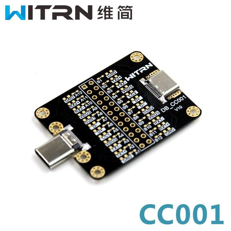 WITRN-CC001 TYPE-C conector macho a hembra adaptador cabeza TYPE-C Placa de prueba accesorio de prueba