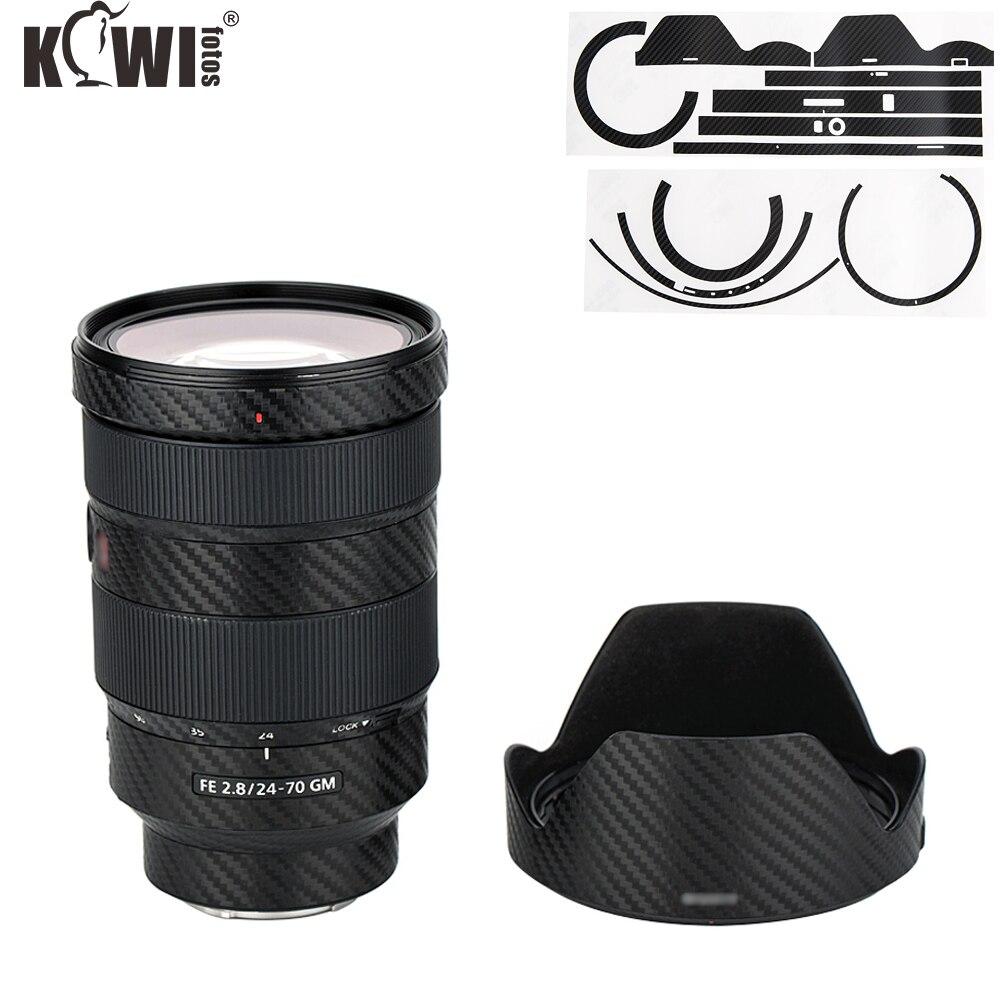 Lente de cámara y cubierta de lente pegatina de piel para Sony FE 24-70mm f/2,8 GM lente (SEL2470GM) cubierta protectora de fibra de carbono negro