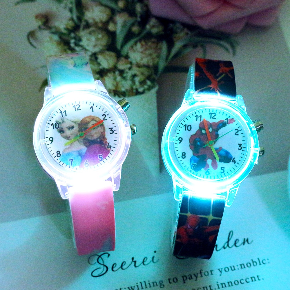 Cartoon Animal Rabbit Flash Light Kids Watches for Girls Boys Rubber Strap Cute Dinosaur Children Wa