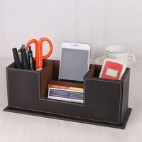 pu leather pen pencil holder with 4 compartment multifunctional desk organizer penbusiness name cardsmobile phonenote paper h
