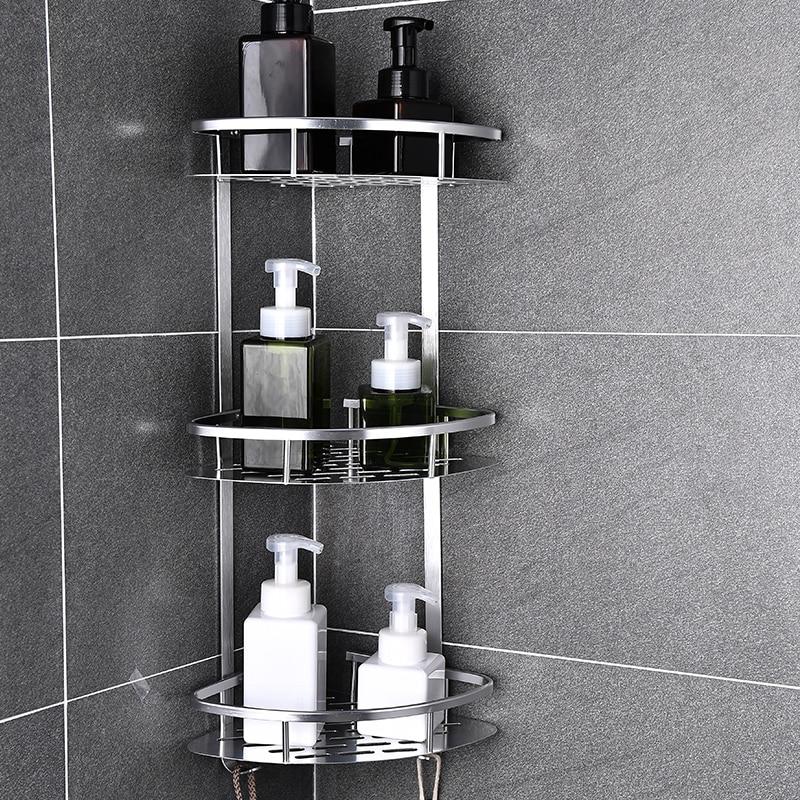 Space Aluminum Bathroom Shelf No Punching Shower Caddy Sheves Kitchen Storage Basket Adhesive Suctio