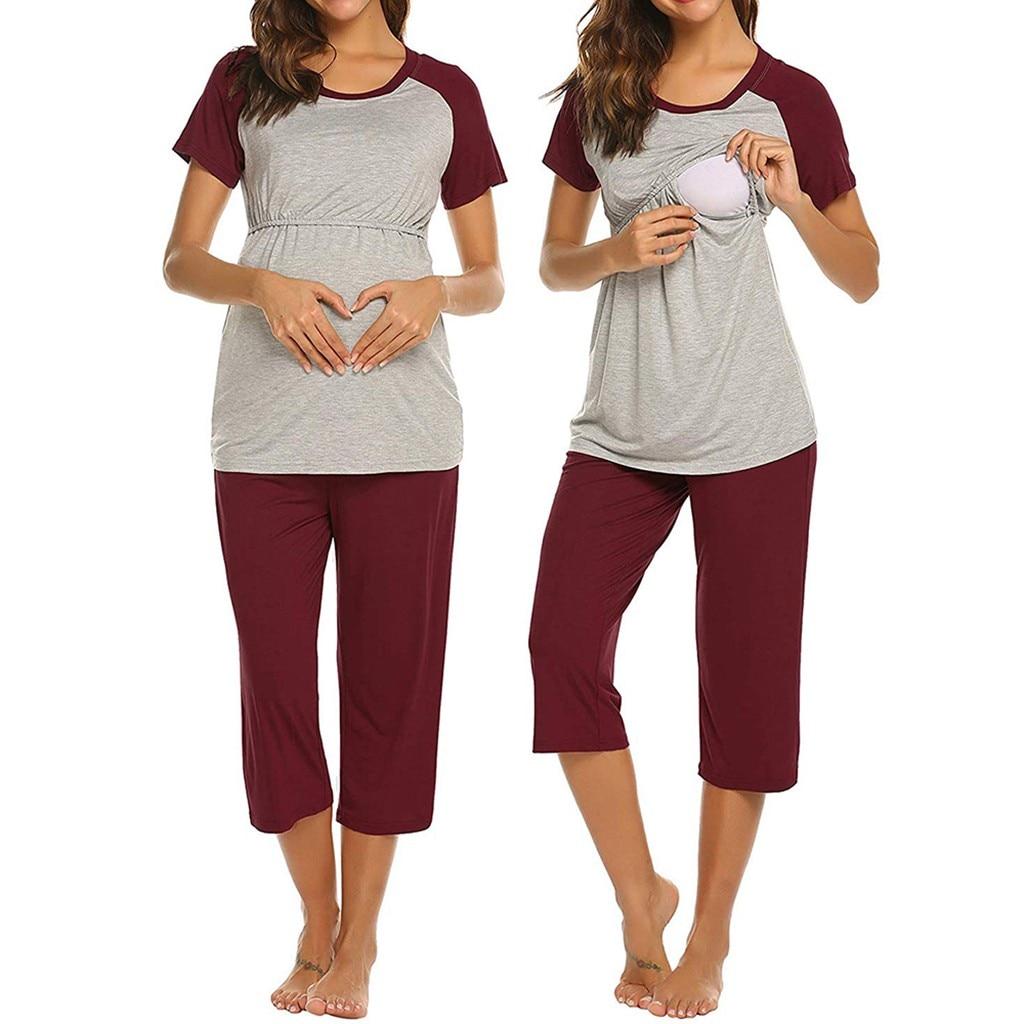 Pijama de maternidad para mujer, de manga corta Camiseta de lactancia de maternidad para amamantamiento + Set de pijama con pantalones 4/3, pijama maternal #