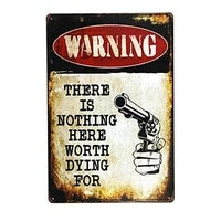 warning there is nothing here metal sign wall decor garage shop bar living room wall art poster 8x12 inches