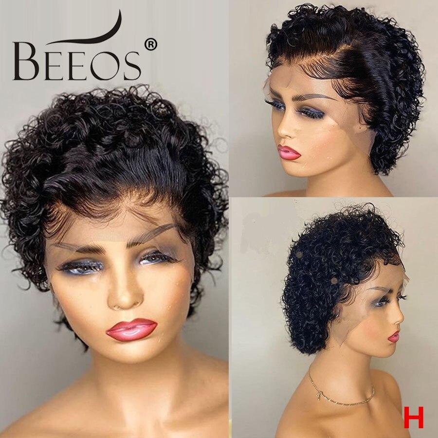 Beeos peluca Frontal de encaje de corte Pixie Bob peluca Courte Bouclée Remy brasileño cabello humano Pre arrancado