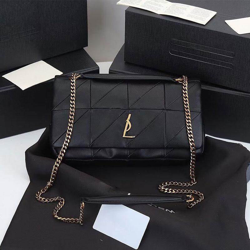 حقيبة يد فاخرة 2021 جديد جلد الغنم سلسلة حقيبة كتف محفظة هندسية شعرية عالية الجودة حقيبة ساعي مصمم