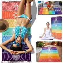 Beste Verkauf ankunft Neueste Regenbogen Boho Strand Matte Mandala Decke Gestreift Wandbehang Tapisserie Yoga Home Deco Multi-Farbe
