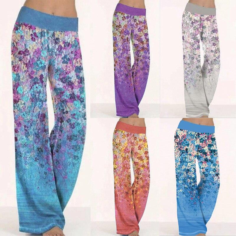 New 2021 Women Fashion Floral Print Elastic Loose Wide Leg Pants Yoga Pants Ladies Casual Comfortable Trousers  S-3XL womens loose yoga pants floral print wide leg trousers long stretch pants loose palazzo trousers sweatpantsharlan pants