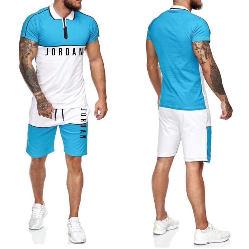 Sportswear 2-piece Set Men's T-shirt + Sports Shorts Set High Quality Tracksuit Men Short Sleeve Sports Running Set 2021 Summer