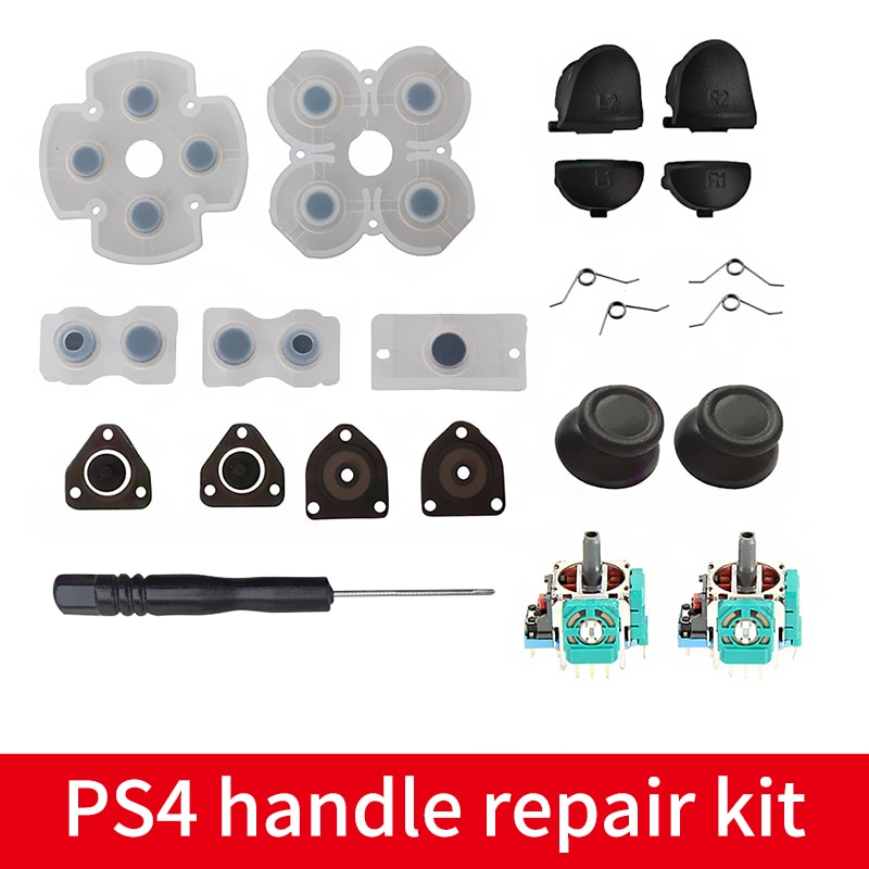 Acessórios do jogo para choque duplo 4 ps4 controlador l1 r1 l2 r2 botão de gatilho analógico vara de borracha condutora botão peças de reparo