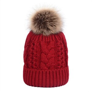 fur pom pom double layer cap winter keep warm hat knitting beanies cap soft hat solid colors nice looking hat