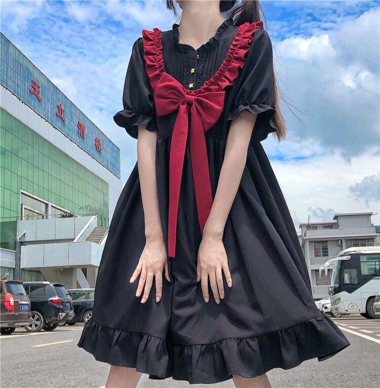 Vestido adelgazante japonés agradable arco oscuro para mujer verano 2020 nuevo estilo vestido de hadas vestido de fiesta de té lolita dulce muñeca lolita