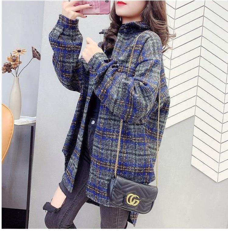 Retro Hong Kong flavor ins winter basic jacket new brushed loose woolen coat long-sleeved plaid plush shirt coat