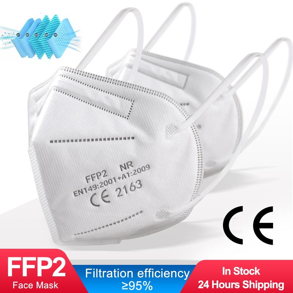 100 Pieces CE FFP2 Mask 5 Layers KN95 Dust Masks Face Protective FPP2 Mascarillas Filter Respirator FPP3 FFP3 Reusable