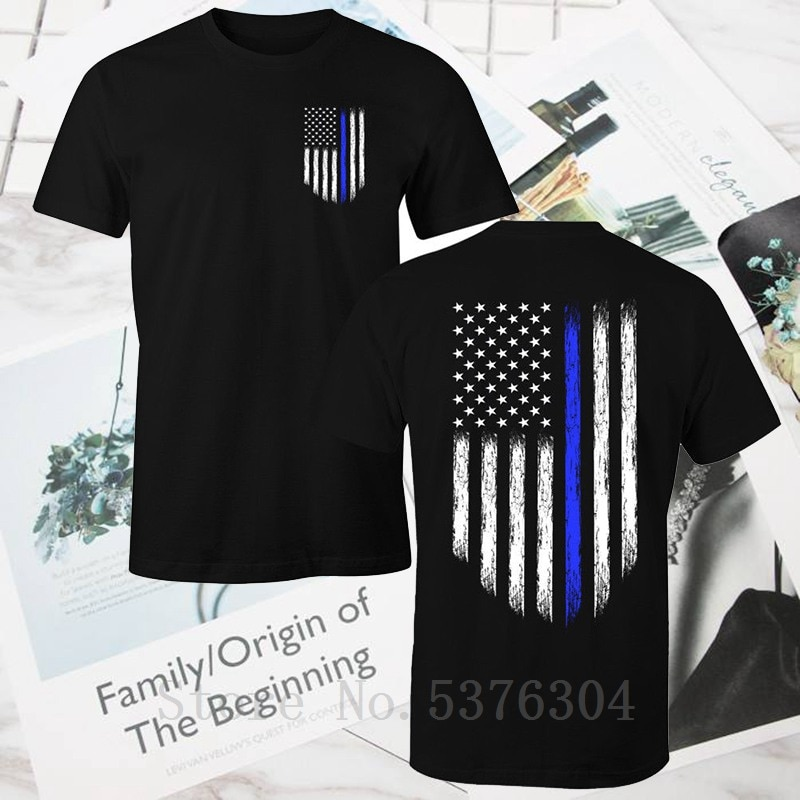 Thin Blue Line USA bandera patriótica policías hombres camiseta harajuku camiseta
