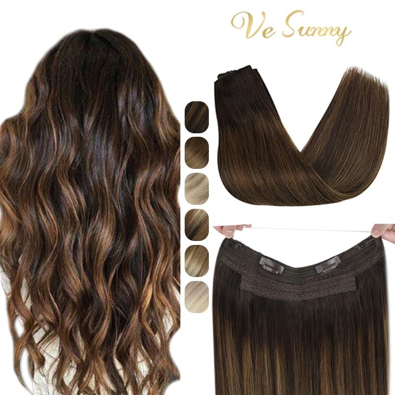 VeSunny خيط صنارة صيد تمديدات شعر شعر بشري حقيقي قطعة واحدة غير مرئية سلك لحمة الشعر مع اثنين من مقاطع آلة صنع شعر ريمي