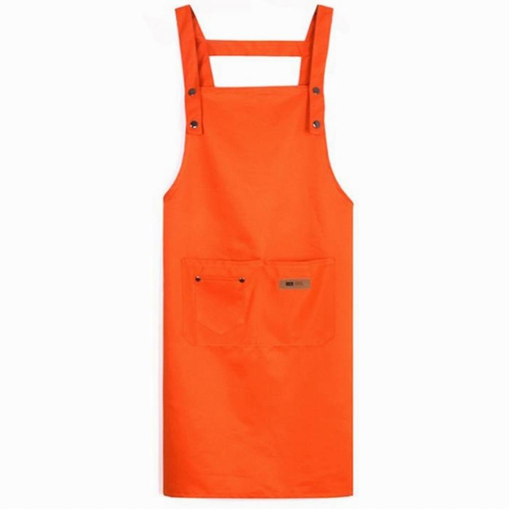 Solid Color Adjustable Bib Apron Waterproof Stain-Resistant with Two Pockets Apron for Kitchen Barbershop Nail Care enlarge