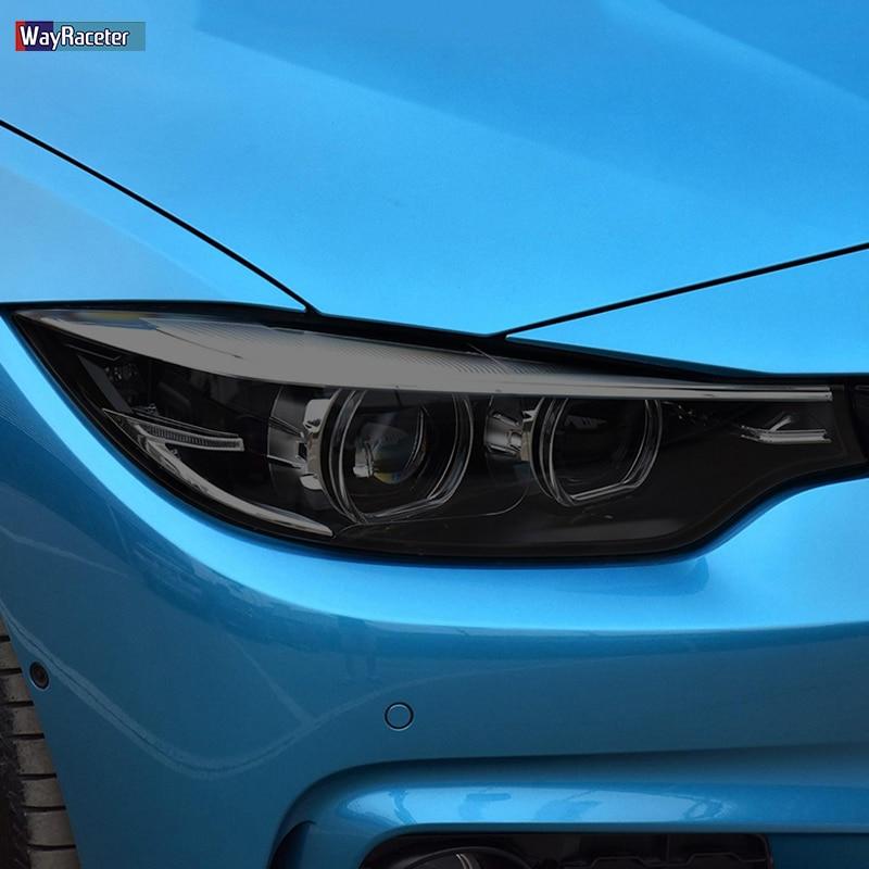 2 قطعة سيارة العلوي طبقة رقيقة واقية كشافات استعادة شفاف أسود بولي Sticker ملصق لسيارات BMW 4 سلسلة F32 F33 F36 اكسسوارات