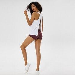 Nova cor sólida tecido polido cinta colete senhoras arco beleza voltar yoga pilates esportes blusa