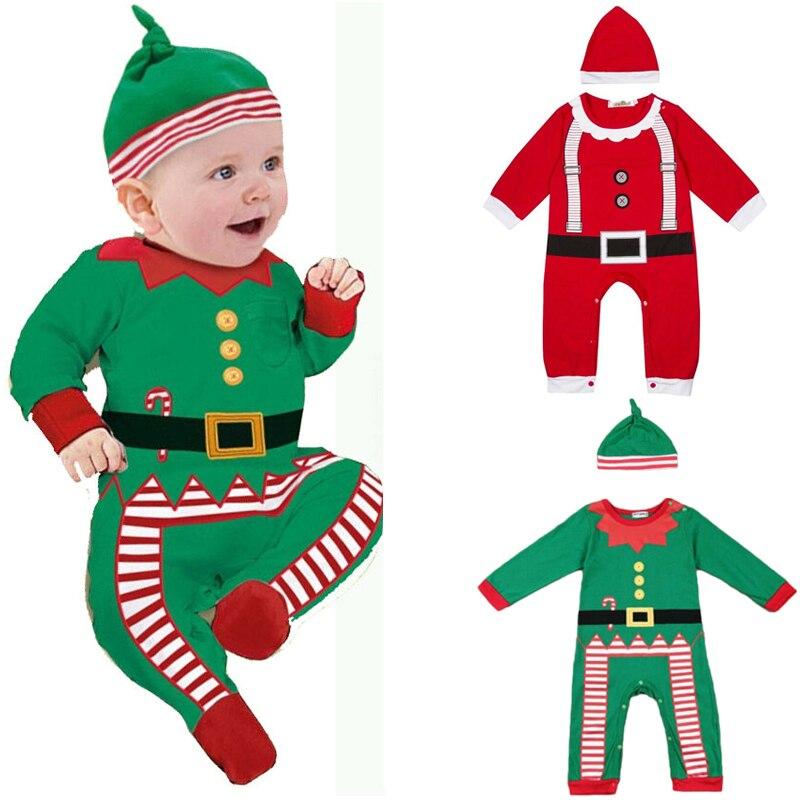 Bebé recién nacido bebé chicos chica Navidad ropa Santa Claus mameluco sombrero traje niño niños mono conjuntos de ropa