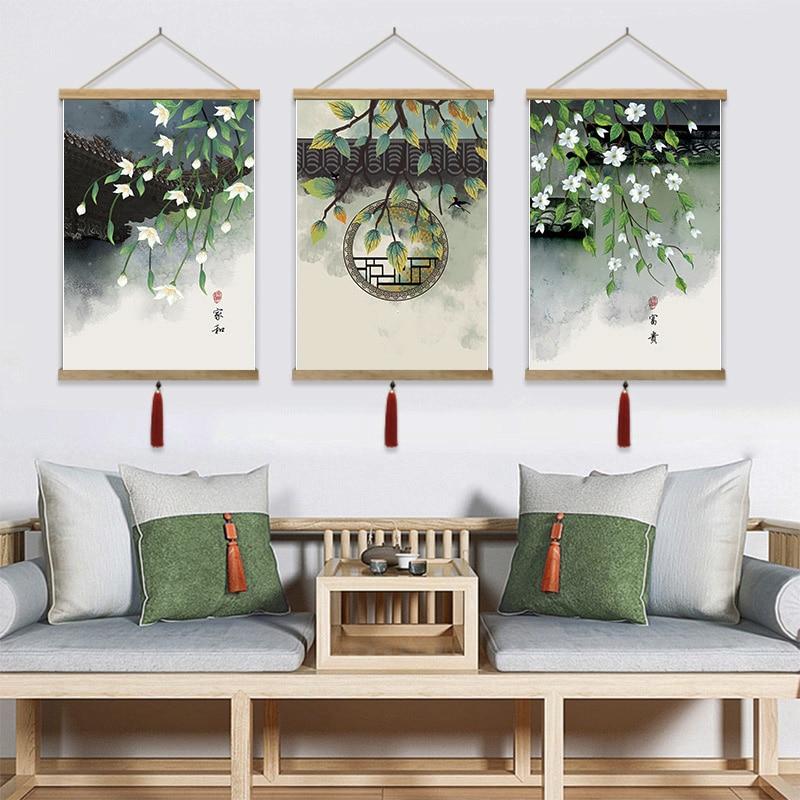 Pintura china Tapiz cuadro de pared colgante arte estético Tapiz de paisaje fondo de planta borla Tapiz decoración de habitación AD50WT