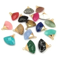 1 piece natural stone crystal pendant charm fan shape pendants for jewelry making supplies diy fine necklace accessories