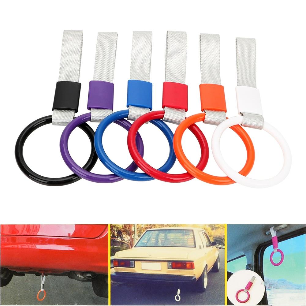 LEEPEE, bucle de advertencia para parachoques trasero de coche, anillo redondo JDM TSURIKAWA, correa de mango de autobús para tren subterráneo, anillo de tracción Interior para coche