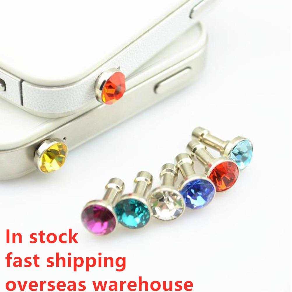 1 Uds Universal 3,5mm diamante polvo enchufe accesorios de teléfono móvil auriculares enchufes para iPhone 5 y 5s 6 6s