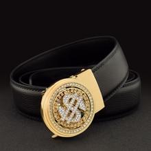 Luxury Genuine Leather Men Belt Jeans Rhinestone Metal Rotatable Belt Buckle High Quality Business Belt Male Waistband Belts New
