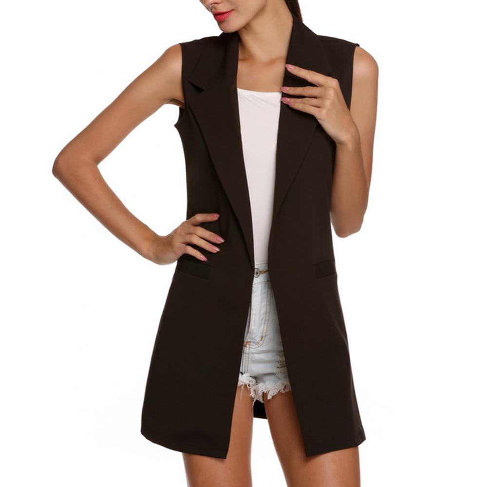 Solid Color Fashion Women Sleeveless Lapel Waistcoat Open Front Cardigan Coat Long Slim Slimming Temperament Vest Jacket 2021 slimming hooded patch pocket french front back slit slimming long sleeves men s camo coat