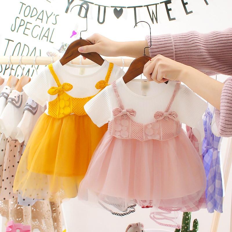 Koreański styl dzieci lato nowe dziewczyny sukienka z krótkim rękawem siatka dla dzieci księżniczka sukienka transgraniczne ubrania dla niemowląt maluch